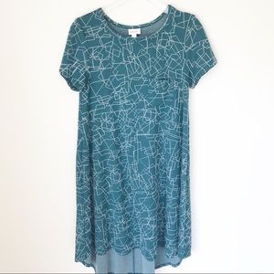 LuLaRoe Carly Teal Dress Sz Small